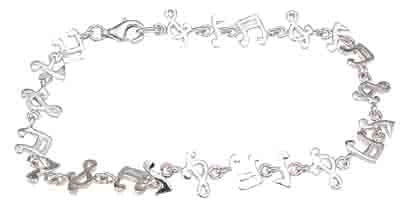 925 sterling silver rhodium finish musical bracelet