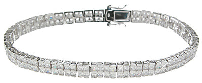 925 sterling silver rhodium finish cz princess fashion tennis channel bracelet