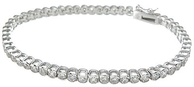 925 sterling silver rhodium finish cz fashion tennis bracelet 2 ct