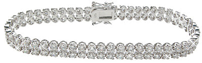 925 sterling silver rhodium finish cz fashion bracelet 3 ct