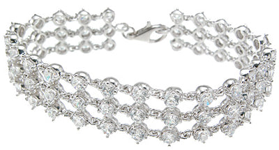 925 sterling silver rhodium finish cz antique style bracelet