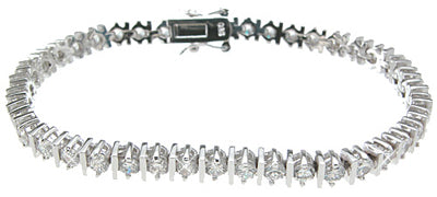 925 sterling silver rhodium finish cz fashion tennis bracelet 3 5 ct