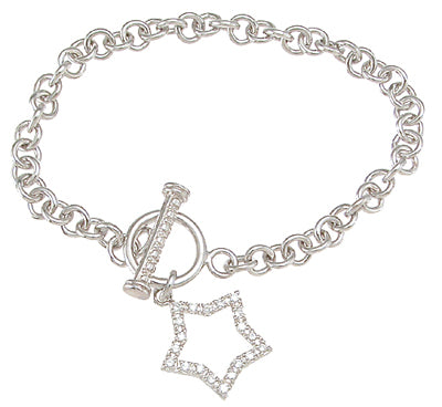 925 sterling silver rhodium finish cz star bracelet