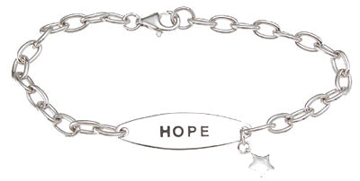 925 sterling silver rhodium finish hope bracelet