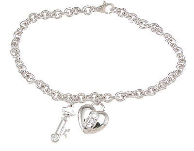 925 sterling silver rhodium finish cz heart key bracelet