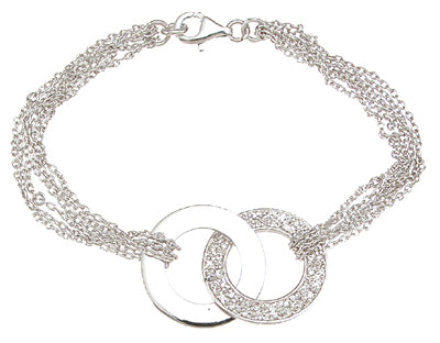 925 sterling silver rhodium finish cz link bracelet