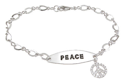 925 sterling silver rhodium finish cz peace bracelet