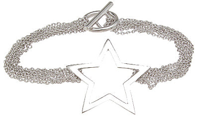 925 sterling silver rhodium finish star bracelet