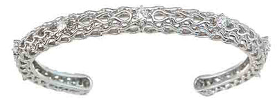925 sterling silver rhodium finish cz fashion bangle prong