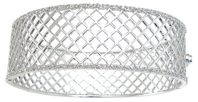 925 sterling silver rhodium finish cz fashion bangle pave