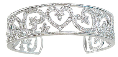 925 sterling silver rhodium finish antique style cuff bangle 1 2 ct ct