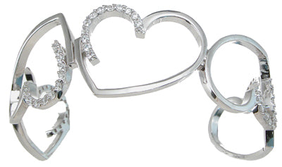 925 sterling silver rhodium finish cz heart bangle