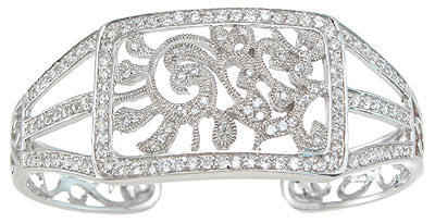 925 sterling silver rhodium finish antique style cuff bangle