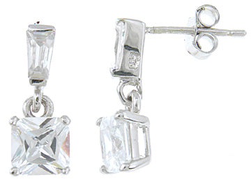 925 sterling silver platinum finish princess fashion earrings 2 5 ct
