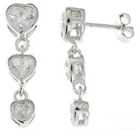 925 sterling silver platinum finish fashion earrings 1 5 ct