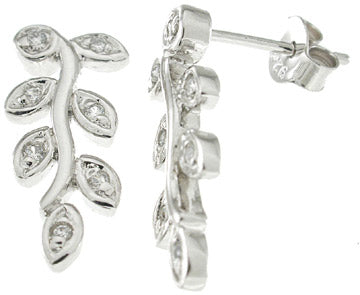 925 sterling silver platinum finish fashion earrings 0 05 ct