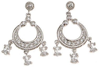925 sterling silver rhodium finish chandelier antique style earrings