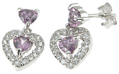 925 sterling silver rhodium finish simulated amethyst heart fashion earrings