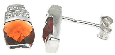 925 sterling silver rhodium finish simulated agate crystal cushion cut fashion earrings
