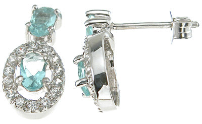 925 sterling silver rhodium finish simulated topaz oval fashion earrings