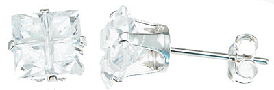 925 sterling silver cz princess stud earrings 2 ct