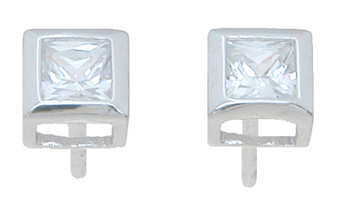 925 sterling silver rhodium finish princess stud bezel earrings