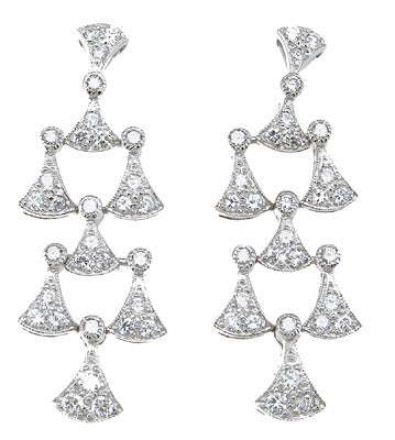 925 sterling silver antique style pave earrings 1 ct