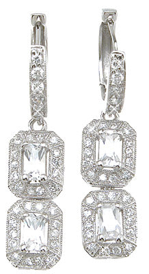 925 sterling silver rhodium finish emerald cut antique style pave earrings
