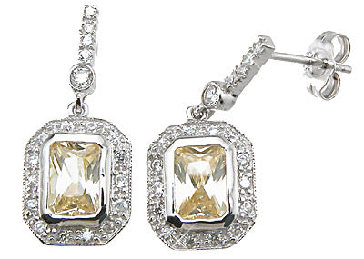 925 sterling silver rhodium finish emerald cut tiffany style pave earrings