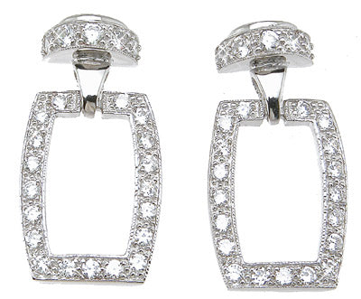 925 sterling silver fashion pave earrings 1 ct