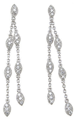 925 sterling silver antique style pave earrings 1 2 ct