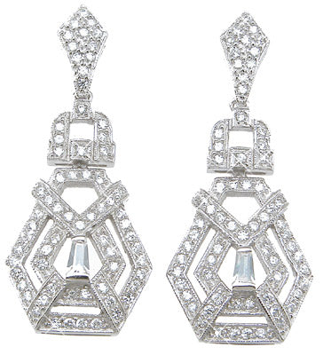 925 sterling silver rhodium finish brilliant baguettes antique style pave earrings