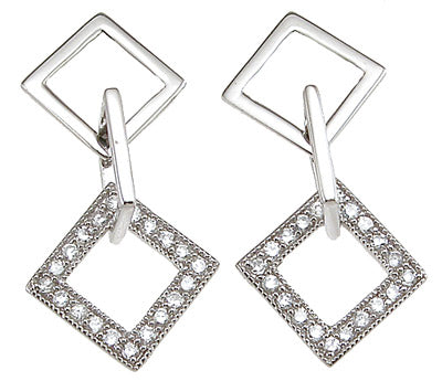 925 sterling silver rhodium finish fashion earrings 0 4 ct