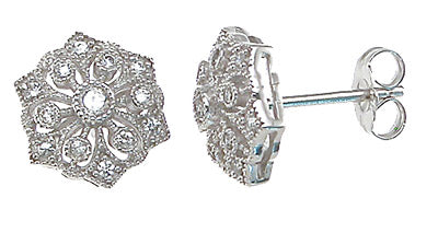 925 sterling silver antique style earrings 0 25 ct