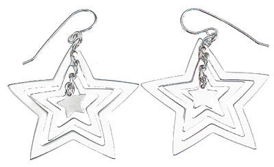 925 sterling silver rhodium finish star fashion earrings