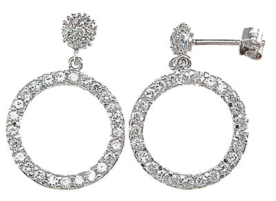 925 sterling silver rhodium finish fashion pave earrings 1 ct