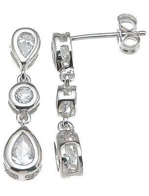 925 sterling silver rhodium finish cz three stone earrings