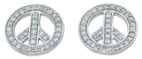 925 sterling silver peace sign fashion earrings