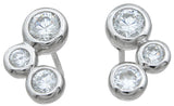 925 sterling silver three stone earrings 4 ct