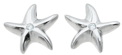 925 sterling silver star fish earrings 0 05 ct