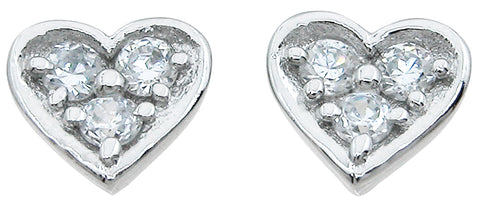 925 sterling silver heart stud earrings 0 75 ct