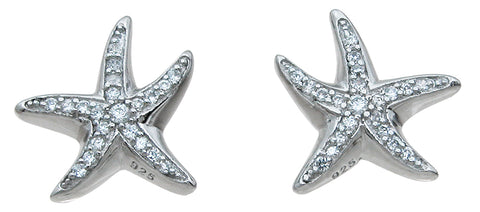 925 sterling silver star fish earrings 0 6 ct