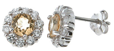 925 sterling silver platinum finish genuine citrine earrings