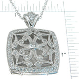 925 sterling silver rhodium finish cz brilliant locket antique style necklace 1 ct