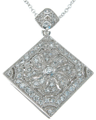 925 sterling silver cz brilliant locket antique style necklace 1 ct