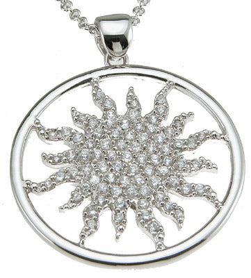 925 sterling silver rhodium finish cz sun fashion necklace 1 ct