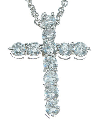 925 sterling silver rhodium finish cz cross necklace 1 ct
