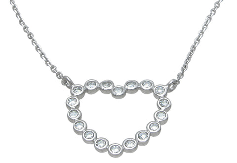 925 sterling silver heart necklace 1 ct