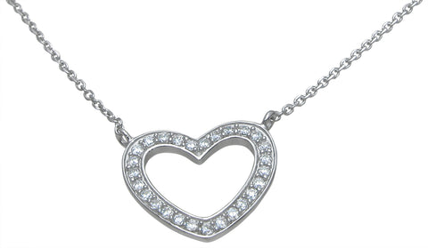 925 sterling silver heart necklace 75 ct