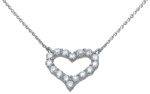 925 sterling silver heart necklace 2 ct rhodium finish